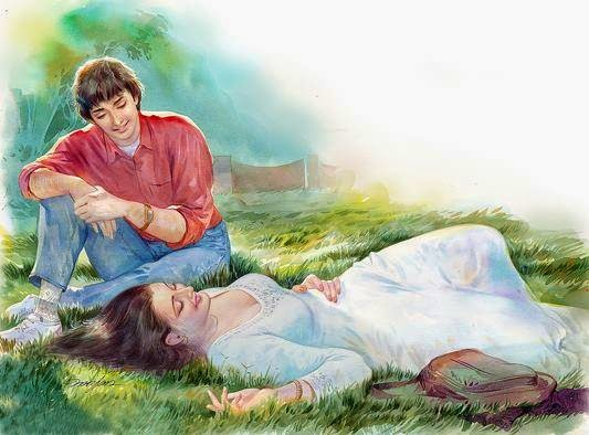 Lovers in the garden beautiful painting