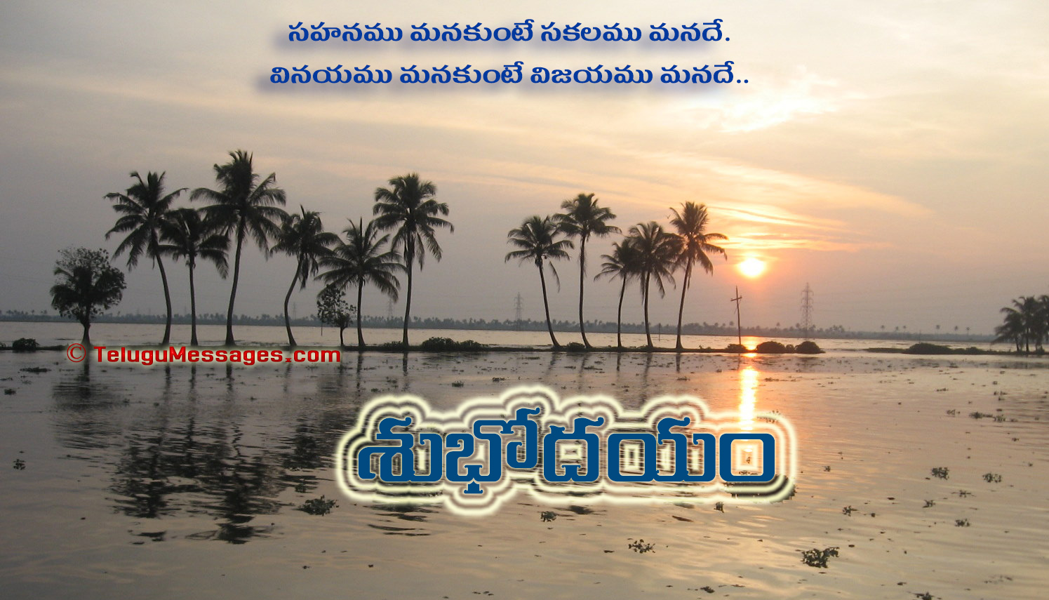 Telugu Good Morning on Patience - Coconut Trees