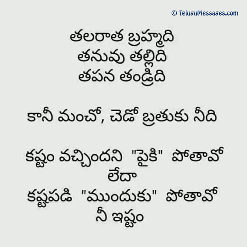Wonderful Telugu quote for depressed people